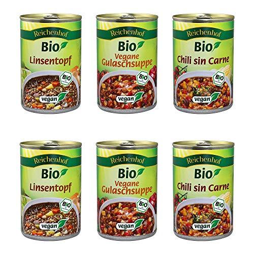 Reichenhof BIO-Eintöpfe 6er Box EASY VEGAN: Linsentopf, Chili sin Carne, Vegane Gulaschsuppe, 6er Pack (6 x 400g)