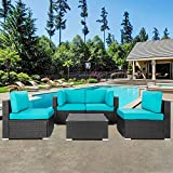 Shintenchi Outdoor Patio Furniture 5 Pieces Sets, All Weather PE Wicker Rattan Patio Conversation Sofa Set Tea Table&Washable Couch Cushions for Backyard Porch Lawn Garden Balcony (Blue)