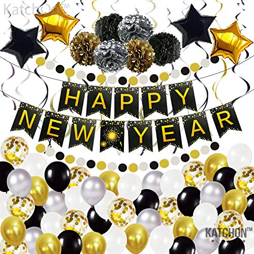 Huge New Years Eve Party Supplies 2022 Kit - Happy New Year Banner Sign and gold Confetti Balloons   New Years Eve Party Supplies 2022   Happy New Year Party Decorations 2022   NYE Decorations 2022