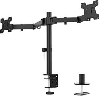 WALI Dual LCD Monitor Fully Adjustable Desk Mount Stand Fits 2 Screens up to 27 inch, 22..