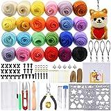 PP OPOUNT Kit de démarrage de feutrage avec 24 couleurs de laine et de fibres, 25 pièces en feutre de laine et instructions pour le feutrage d'aiguilles
