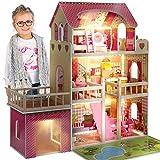 Kinderplay Grande Maison En Bois Pour Poupées Avec Éclairage De Garage...