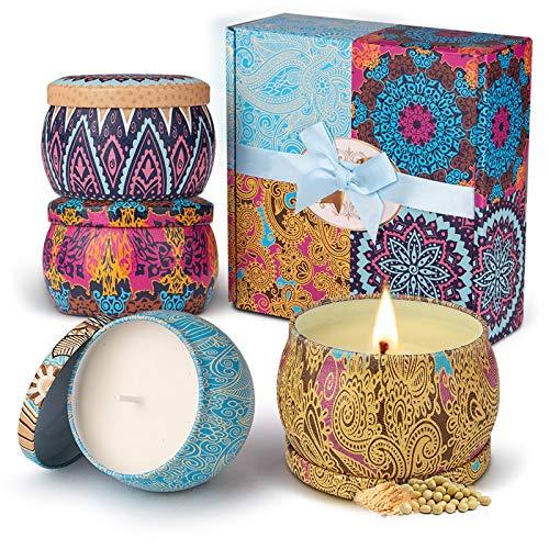 Duftkerze Set Aroma Kerzen 4 Stück Geschenkset, 100{abdd94297969b4c4ce0dc7901d1ebe425b3b01c71b93f3d1e2c790f20008c52e} Natürliches Sojawachs Kerze von Frühling frisch, Zitrone, Lavendel und Feigen Düfte, für Bad Geburtstag Yoga Jahrestag und Damen Geschenke