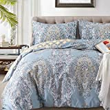 Duvet Covers Sets Cotton Queen Luxury Paisley Damask Medallion -1000TC Egyptian Cotton Duvet Cover- Reversible  Percale Weave Comforter Cover Set-3pcs Soft Breathable Bedding(Queen,Light Blue Floral)