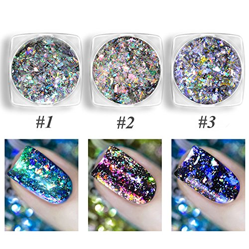 CHARMING MAY 3 Boxes Chameleon Holographic Flakes Paillette Laser Nail Glitter Sequins Mirror Powder