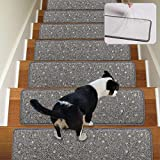 Stair Treads Non-Slip Carpet Indoor Set of 13 Grey Carpet Stair Tread Treads Stair Rugs Mats with Self Adhesive Skid Resistant Rubber Backing (30 x 8 inch),(Grey, Set of 13)