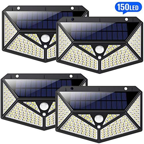 HETP 150 led Luci Solari Esterno 4 Pezzi [Illuminazione Omnidirezionale a Sei Lati] Luce Solare...