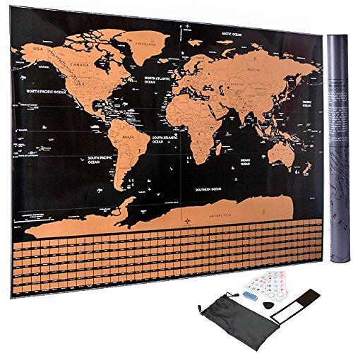 Scratch off World Map Poster + Accessories Pegatina borrador blade blade - Regalo de arte de pared...