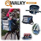 Walky Basket Pet Dog Bicycle Bike Basket & Carrier Easy Click Release Mounting- Up to 15lbs 15.5' Wide x 10' Depth