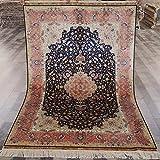 Yuchen New 4'x6' Blue Handmade Silk Oriental Rug Vintage Persian Area Rug Hand Knotted Carpet