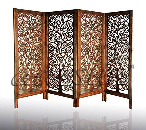 Aarsun Woods Handmade Wooden Room Divider Screen | Wooden Partition | Room Separator (Design 2, Natural 2)