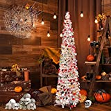 KVISTER 5FT Flocked Artificial Halloween Christmas Tree, Collapsible Pencil Christmas Trees, Small Pop up Christmas Tree for Apartments, Dorm Rooms, Fireplace or Party (Silver Multicolor)