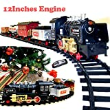 JOYIN Holiday Electric Premium Train Set (Big Train, 12' Engine) with Lights, Sounds and Remote Control 5 Train Cars and Tracks Toy, Xmas Tree Decor, Indoor Decoration.