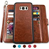 CASEOWL Galaxy S8 Plus Cases,Magnetic Detachable Lanyard Wallet Case with [8 Card Slots+1 Photo Window][Kickstand] for Galaxy S8 Plus-6.2 inch, 2 in 1 Premium Leather Removable TPU Case(Brown)