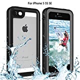Re-sport iPhone 5/5S/SE Waterproof Case, Shockproof Dustproof Full-Sealed Protective Underwater Phone Case Cover with IP68 Certificated Compatible with iPhone 5 5S SE (Black)