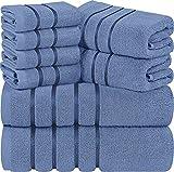 Utopia Towels - Lot de 8 Serviettes Bleues électriques - Serviettes à Rayures en...