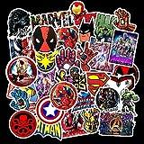 WYZNB Superhero Marvel - Pegatinas para monopatín, maleta, portátil, impermeables, 50 unidades