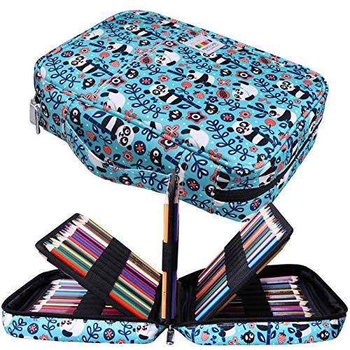 JAKAGO - Astuccio per 220 matite colorate, grande capacit, multistrato, impermeabile, per pastelli acquerellabili, pennarelli e penne gel, ottimo regalo per studenti di arte L Panda