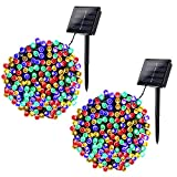 Joomer 2 Pack Solar Christmas Lights 72ft 200 LED 8 Modes Solar String Lights Waterproof Solar Fairy...