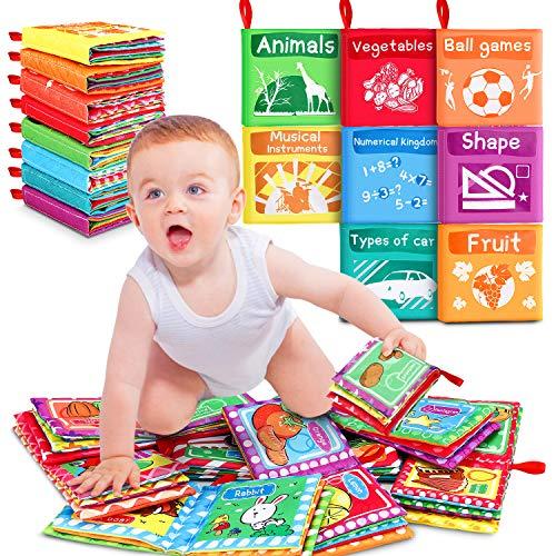 Livre D'éveil Bébé Livres en Tissu Doux, Mon Premier Livre, Jouet Educatif Sensitive Book Cadeau pour Enfants Bébé Bambin, Lavable, 0+ Mois (8 Paquets)