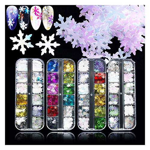 EBANKU 48 Color Holographic Snowflake Nail Sequins, Iridescent Snowflake Flake Nail Glitter Christmas Decoration Laser Sparkly Glitter for DIY Christmas DIY Gift (4 box/48 Grids)