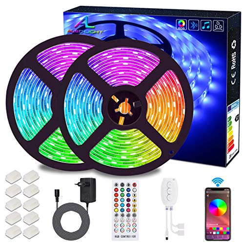 Striscia LED 10M Musicale, ALED LIGHT Nastri LED Bluetooth RGB 300 led IP65 Impermeabile 12V, con Controller Bluetooth + Telecomando, Striscia Luminosa LED per Smartphone Android e IOS Controllo APP