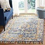 Safavieh Aspen Collection APN116M Handmade Boho Braided Tassel Wool Area Rug, 5' x 8', Blue / Rust