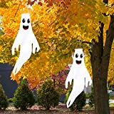 Geefuun 43' Halloween Ghost Windsocks Hanging Decorations - Flag Wind Socks for Home Yard Outdoor Decor Party Supplies (2 Pieces)