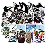 WOKAO Parkour Deportes Extremos Pegatinas en Blanco y Negro Dibujos Animados Pegatina Impermeable para Maleta DIY Motor de Ordenador portátil para niño 50 Uds