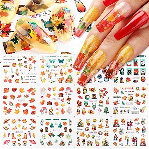 BiBiSi Fall Nail Art Stickers Decals Thanksgiving Fall Maple Leaf Cute Animals Nail Art Supplies Nail Foil Autumn Colors Water Transfer Nail Accessories 12 Design Maple Designs for Acrylic Nails