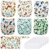 Baby Stoffwindeln, Exqline wiederverwendbare waschbare Taschewindel, 6 Einstellbare Windeln + 6 Einlagen für die meisten Babys und Kleinkinder 3-15 kg