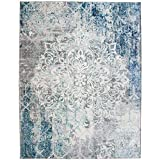 ReaLife Machine Washable Rug - Stain Resistant, Non-Shed - Eco-Friendly, Non-Slip, Family & Pet Friendly - Made from Premium Recycled Fibers - Vintage Distressed Floral - Grey, 4' x 6'