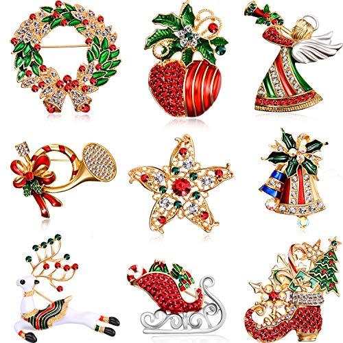 Hicarer Conjunto de 9 Piezas Pin Broches de Navidad con Diamante de Imitación Decoración de Navidad de Cristal (Conjunto de Ángulo)