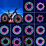 TGJOR Bike Wheel Lights, LED Waterproof Bicycle Spoke Tire Light with 32-LED and 32pcs Changes Patterns Bicycle Rim Lights for Mountain Bike Road Bikes BMX Bike Hybrid Bike Folding Bike (one Light)