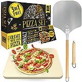 Loco Bird Pizzastein für Backofen & Gasgrill inkl. Pizzasschieber - 3er Set - Pizzastein rechteckig aus Cordierit für knusprigen Pizzaboden wie vom Italiener, Pizzaschieber und Rezeptbuch