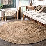 nuLOOM Rigo Hand Woven Jute Area Rug, 4' Round, Natural