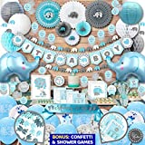 295 pc Elephant Baby Shower Decorations for Boy | It's A BOY| Banner, Napkins, Straws, Paper Decorations, Cake Toppers, Sash, Balloons, Favor Stickers, Guest Book, Confetti, Games | Blue Grey White