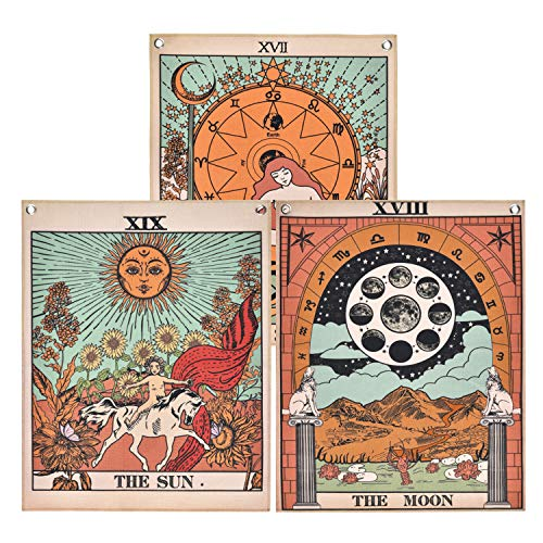 Pack 3 Tarot Tapestry, The Moon, The Star and The Sun Tarot...
