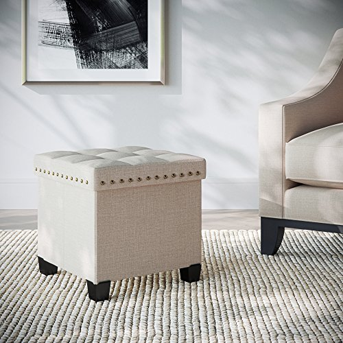 Nathan James Payton Foldable Fabric Ottoman with Wooden Lid, Cube Footstool with Storage Space for Footrest and Seat, Beige