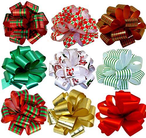 """GiftWrap Etc. Arcos 5""""de Ancho, Juego de 9, Rojo, Verde, Dorado, Rayas, espirales, Lazos para Regalos"""