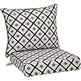 AmazonBasics Deep Seat Patio Seat and Back Cushion Set - Black Geometric
