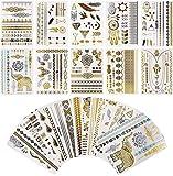 Tatouages Temporaires, 16 Planches Temporaires Tattoos, Autocollants Métalliques Étanche Dorés Faux Tatouages, Motifs Variés (Classique)