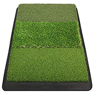 PACKAGE INCLUDE: 1 * Golf Hitting Mat . (Not Included Golf Tees and Golf Balls) HEAVY-DUTY RUBBER BACKING: 7 lbs eco-friendly rubber base features non-slip ,non-smell that ensure the mat never moves from your swing and driving. PRACTICE ALL SKILL LEV...