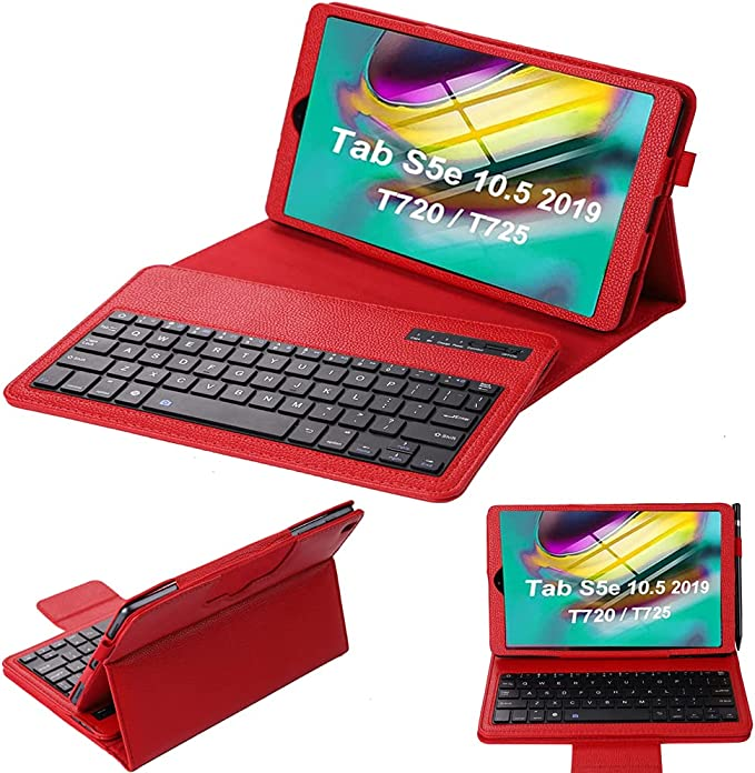SsHhUu Galaxy Tab S5e 2019 Keyboard Case T720 T725 T727, Lightweight Slim PU Leather Protective Case with Detachable Bluetooth Keyboard for Galaxy Tab S5e 10.5 Inch, Red