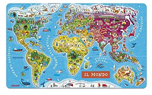 Janod- Puzzle di Legno Il Mondo Magnetico, 92 Pezzi, Versione Italiana, J05513