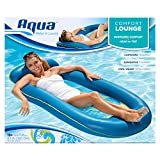 Aqua Comfort Water Lounge, X-Large, Inflatable Pool Float with Headrest & Footrest, Bubble Waves