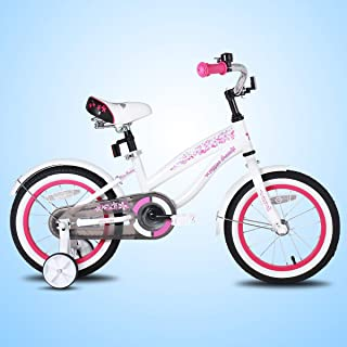 JOYSTAR Girls Cruiser Bike with Training Wheels and Fenders for 12 14 16 Inch Kids Bike (Pink White Green)