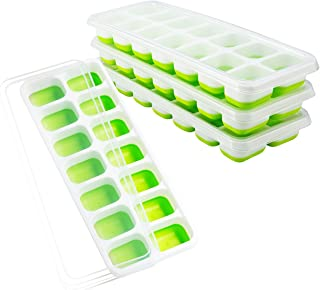 OMorc Ice Cube Trays 4 Pack, Easy-Release Silicone and Flexible 14-Ice Trays with..