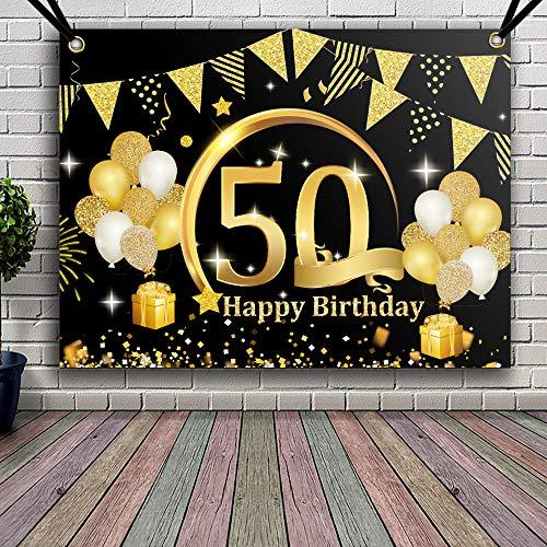 APERIL Decoración de Fiesta de 50 Cumpleaños de Oro Negro,