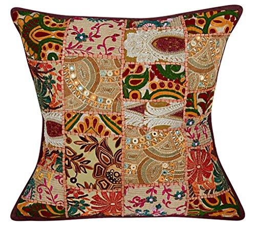 NANDNANDINI - Federa in cotone antico fatto a mano, stile bohmien, con inserto in stile vintage patchwork, decorazione etnica per divano o divano